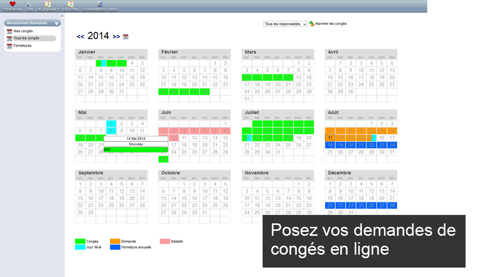 Calendrier Ressources humaines